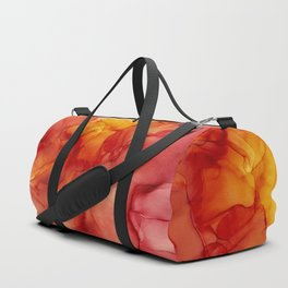 Red Sunset Abstract Ink Painting Red Orange Yellow Flame Duffle Bag