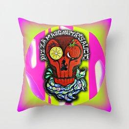 Pizza Margarita Skull Throw Pillow