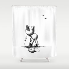 Fox and a rabbit Shower Curtain