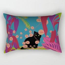 Black Cat In The Outside World Rectangular Pillow