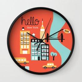 Hello New York - retro manhattan NYC icons illustration Wall Clock
