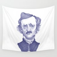 edgar allan poe Wall Tapestries featuring Edgar Allan Poe illustration by Stavros Damos