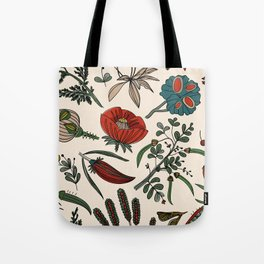 Pattern from field flowers and herbs Tote Bag