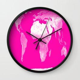 World Map Pink & White Wall Clock