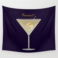 martini Wall Tapestries featuring Time For A Moontini! by Mel Moongazer