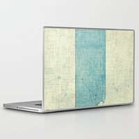 kansas Laptop & iPad Skins featuring Kansas State Map Blue Vintage by City Art Posters