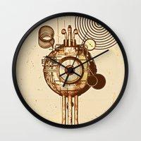 mandie manzano Wall Clocks featuring hypnotism by dvdesign