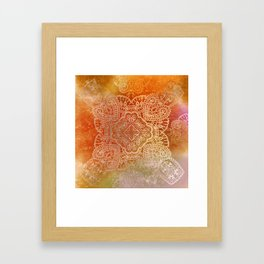 paisley star in hot hues Framed Art Print