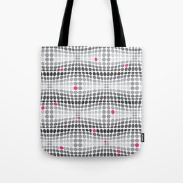 Dottywave - Grey and pink wave dots pattern Tote Bag