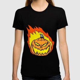 cartoon pumpkin in flames T-shirt