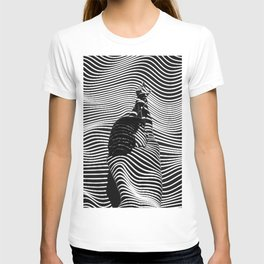 Minimalist Abstract Modern Ripple Lines Projected Woman Sensual Cool Feminine Black and White Photo T-shirt