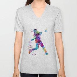 Boy Baseball Softball Batter Watercolor Sports Artwork Colorful Art Unisex V-Neck