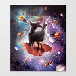 Space Sloth Riding Llama Unicorn - Bacon & Taco Canvas Print