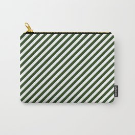 Small Dark Forest Green and White Candy Cane Stripes Carry-All Pouch