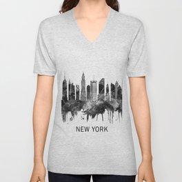 New York City Skyline BW Unisex V-Neck