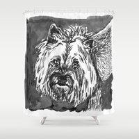 yorkie Shower Curtains featuring yorkie by Jenn Steffey
