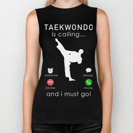 taekwondo is calling and i must go t-shirt for christmas Biker Tank