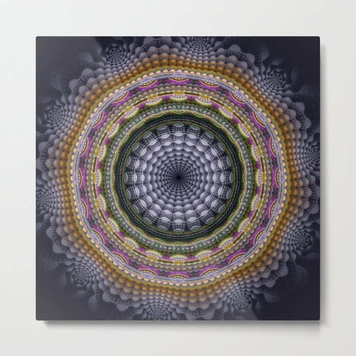 Mandala with optical effects and tribal patterns Metal Print