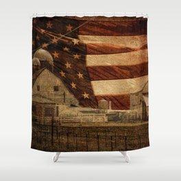 Rustic Barn Americana Heartland Farmhouse Country Flag Decor Art A463 Shower Curtain