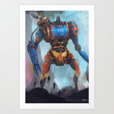 Steampunk giant robot vs five flying heroes Art Print