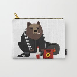 Smoking Gopnik slav bear wearing ushanka squat on the street with semechki and vodka Carry-All Pouch