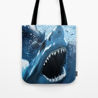 jaws Tote Bags featuring Jaws by Dano77