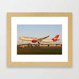 Virgin Atlantic Airbus A330-300 on final approach for Manchester's runway 23R  Framed Art Print
