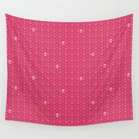 pi Wall Tapestries featuring Hugs, Kisses, Love, and Pi - Pink  by Binge Crafter