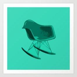 Rocker Chair Blue Art Print