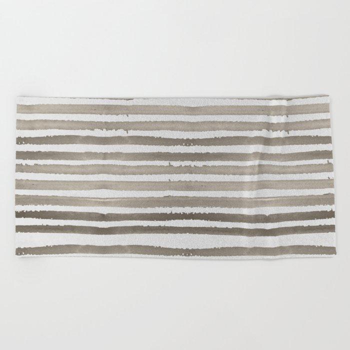 Simply Shibori Stripes Earth Brown on Lunar Gray Beach Towel
