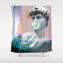 Vaporwave Glitch Shower Curtain
