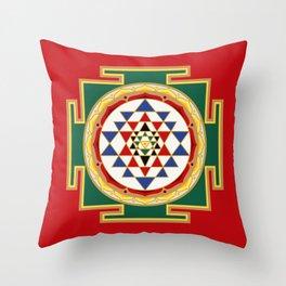 Sri Yantra colored Throw Pillow