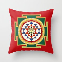 Sri Yantra colored Throw Pillow
