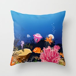 Beautiful Coral Reef Animals Throw Pillow