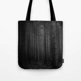 The Dense & Foggy Forest (Black and White) Tote Bag