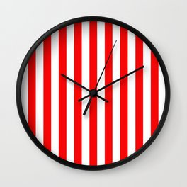 Large Berry Red and White Rustic Vertical Beach Stripes Wall Clock
