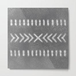 Minimalist Tribal Design in gray Metal Print