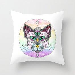 Crystal Cat  Throw Pillow