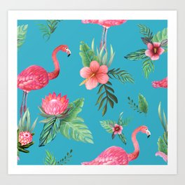 Pink Flamingo Tropical garden paradise Art Print