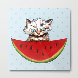 Cat and watermelon Metal Print