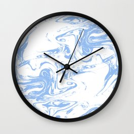 Marbled spilled ink suminagashi japanese marble blue pastel pattern swirl ocean topography Wall Clock