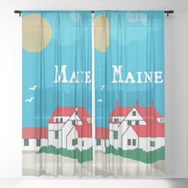 Maine - Skyline Illustration by Loose Petals Sheer Curtain