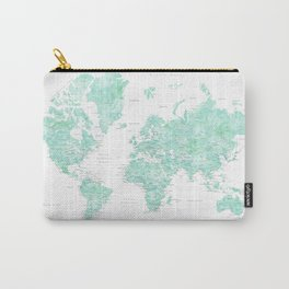 "Light mint watercolor world map, detailed, ""Desie"" Carry-All Pouch"