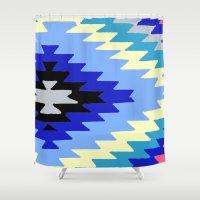 kilim Shower Curtains featuring Kilim Rug Bright by suzyoconnor