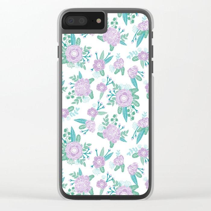 Floral bouquet pastel mint lilac florals painted painted pattern basic minimal pattern print Clear iPhone Case