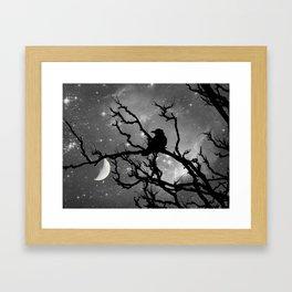 Black Bird Silhouette on Starry Night A492BW Framed Art Print