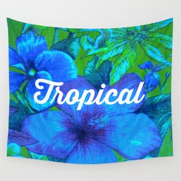 Vintage Tropical (blue) Wall Tapestry