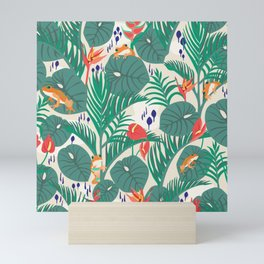 Tropical Frogs in the Jungle - Cream Mini Art Print