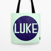 luke hemmings Tote Bags featuring luke by Amy Lovesowls