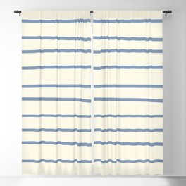 Dusk Sky Blue 27-23 Hand Drawn Horizontal Lines on Dover White 33-6 Blackout Curtain